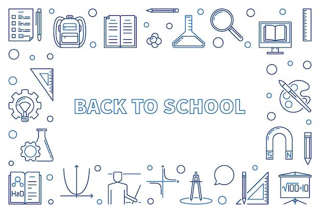 Di nuovo all'illustrazione o alla struttura orizzontale dell'icona del profilo della scuola Vettore Premium