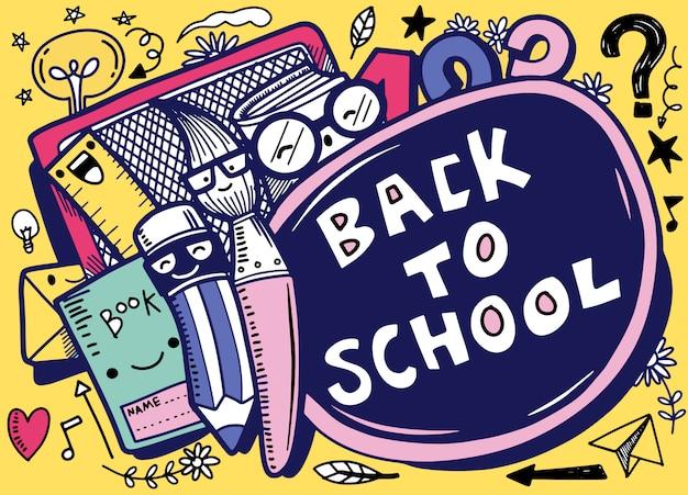 Di nuovo alla progettazione dell'insegna di vettore della scuola con i caratteri di scuola divertenti a, illustrazione disegnata a mano isolata Vettore Premium