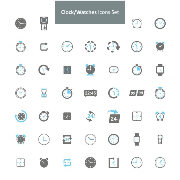 Di orologi set di icone Vettore gratuito