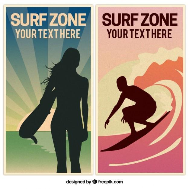 Di surf bandiere d'epoca con sagome Vettore gratuito