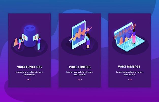 Di tre composizioni pubblicitarie isometriche che rappresentano dispositivi con controllo vocale e funzioni di riconoscimento vocale Vettore gratuito