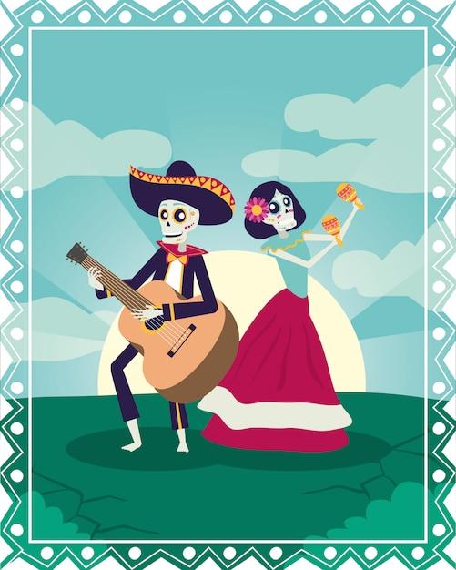 Dia de los muertos card con mariachi che suona la chitarra e catrina Vettore Premium