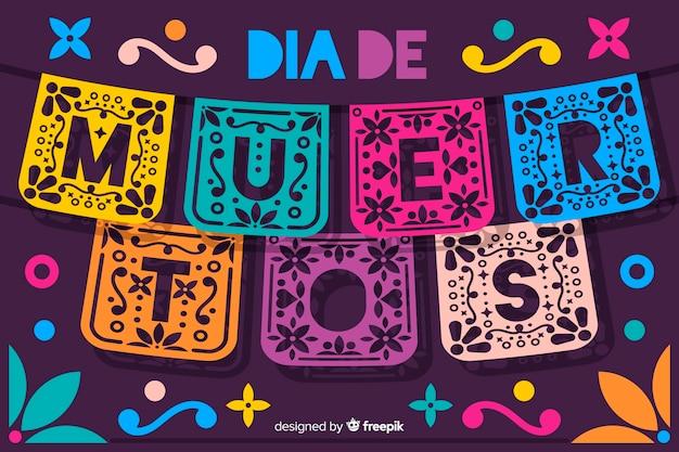 Día de muertos concept con sfondo design piatto Vettore gratuito