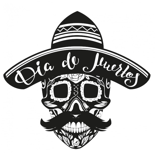Dia de muertos day of dead. cranio nero con cappello messicano Vettore Premium