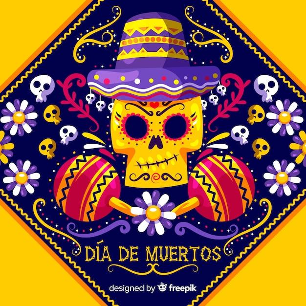 Dia de muertos design di sfondo Vettore gratuito