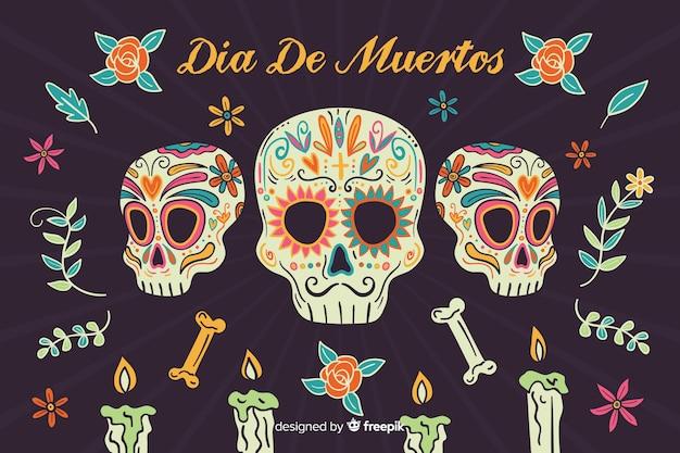 Día de muertos disegnato a mano con sfondo di teschi di mafia Vettore gratuito