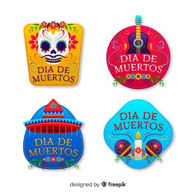 Dia de muertos distintivi colorati con elementi tradizionali Vettore gratuito