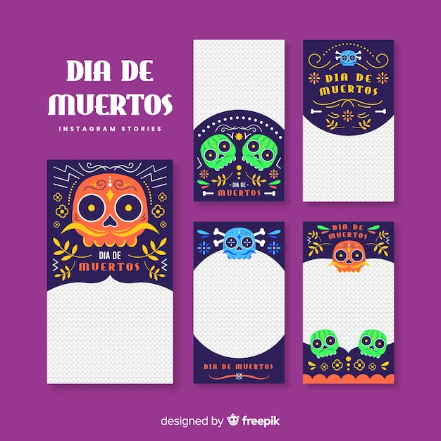 Día de muertos instagram post collection Vettore gratuito