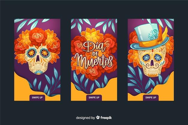 Día de muertos instagram stories collection Vettore gratuito