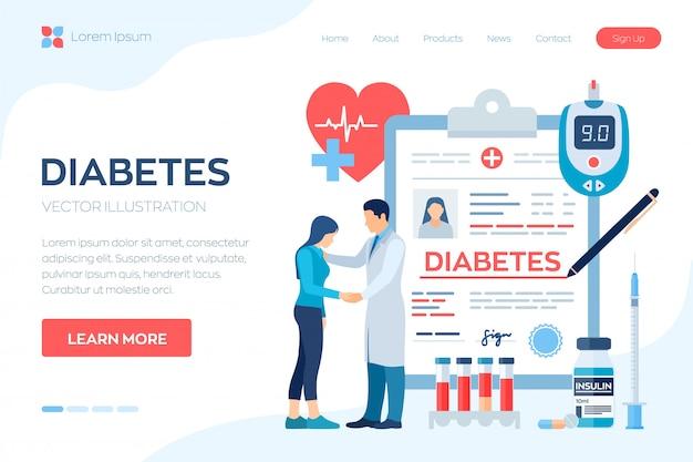Diagnosi medica - diabete. diabete mellito di tipo 2 e produzione di insulina. medico prendersi cura del paziente. Vettore Premium