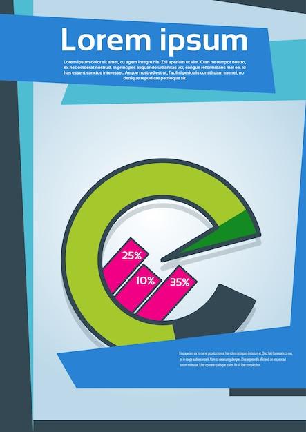 Diagramma a torta con grafico finanziario percentuale Vettore Premium