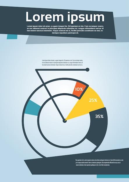 Diagramma a torta con l'aletta di filatoio del grafico finanziario di percentuale Vettore Premium