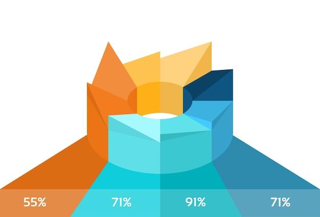 Diagramma a torta Vettore Premium