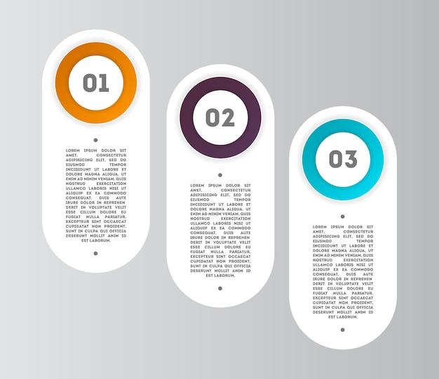 Diagramma astratto infografica con passaggi Vettore Premium