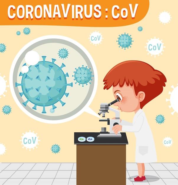 Diagramma che mostra il coronavirus con il medico che esamina la cellula virale Vettore Premium