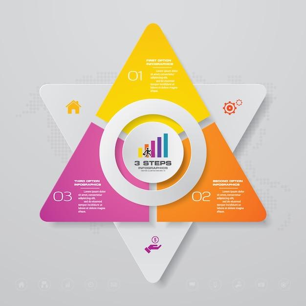 Diagramma degli elementi infografica processo a 3 passaggi. Vettore Premium