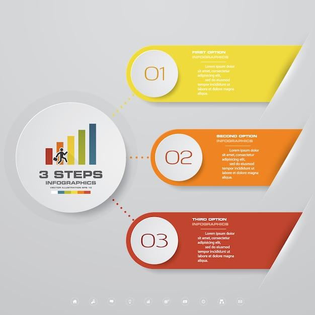 Diagramma di elemento infografica 3 passi per la presentazione. Vettore Premium