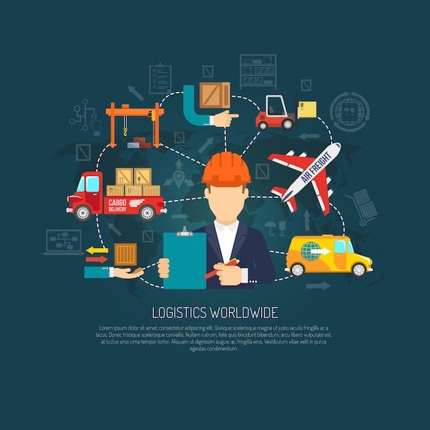Diagramma di flusso del concetto di operazioni logistiche in tutto il mondo Vettore gratuito