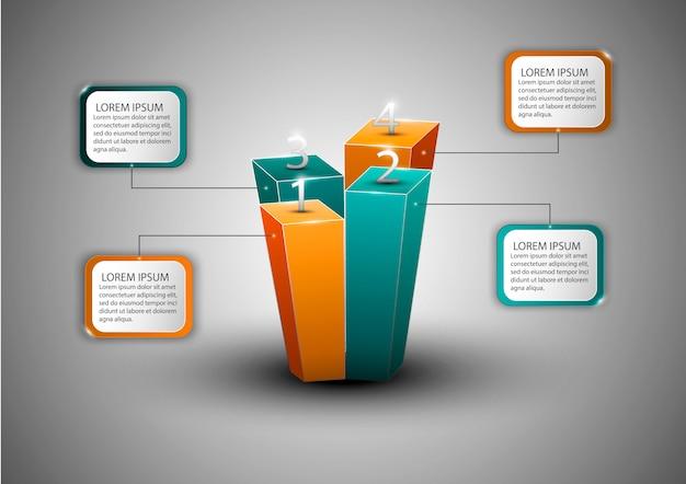 Diagramma di infografica moderna per web design, layout, relazioni finanziarie. concetto di affari. Vettore Premium