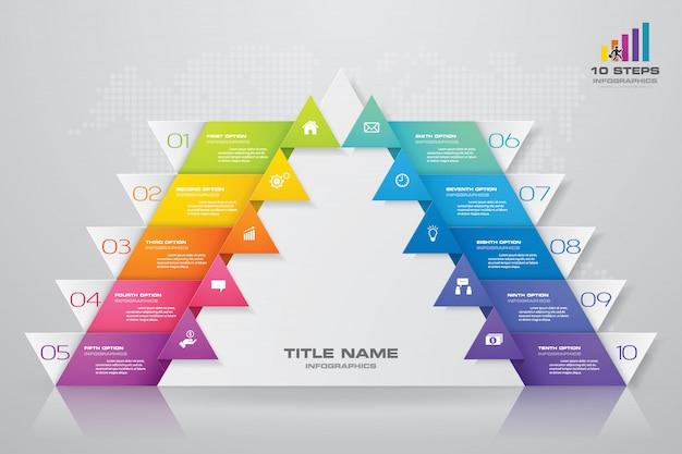 Diagramma di presentazione della piramide a 10 gradini. eps10. Vettore Premium