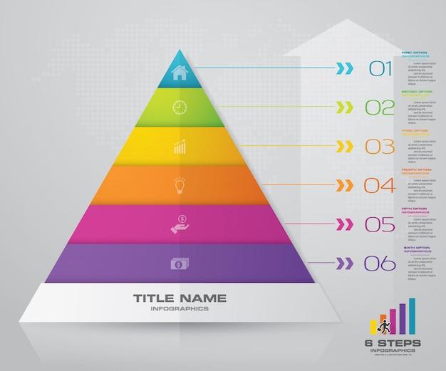 Diagramma di presentazione della piramide a 6 gradini. eps10. Vettore Premium