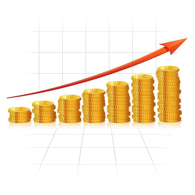 Diagramma incrementale fatto di monete d'oro realistiche Vettore gratuito