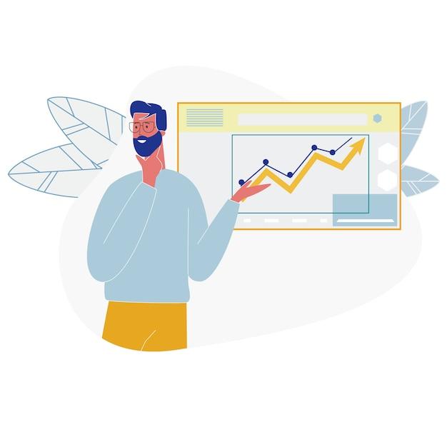 Diagrammi crescenti di analisi dei dati di manifestazione dell'uomo di affari Vettore Premium