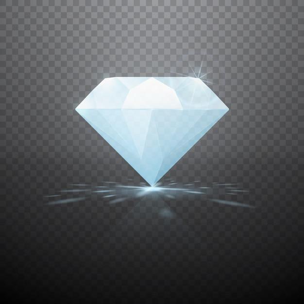 Diamante realistico isolato Vettore Premium