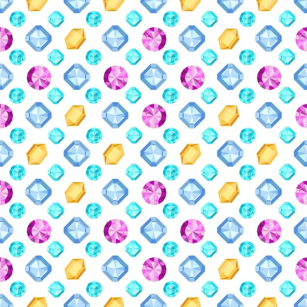 Diamanti o brillanti senza cuciture. modello di pietra preziosa. illustrazione. Vettore Premium