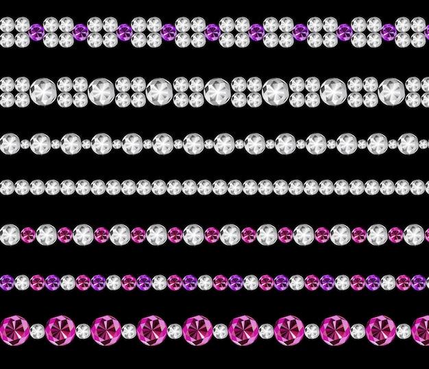 Diamond realistic borders set illustration Vettore Premium