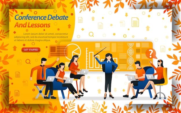 Dibattito e conferenza delle lezioni. Vettore Premium