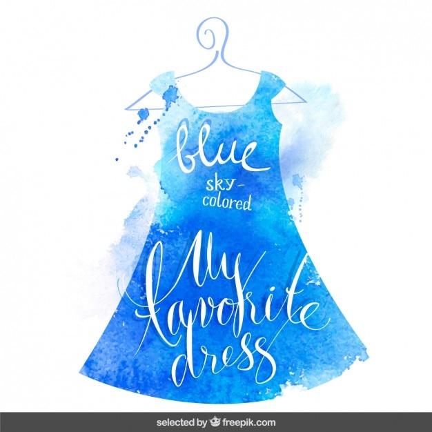 Diciture in abito acquerello blu Vettore gratuito
