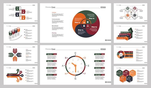 Dieci diagrammi di lavoro di gruppo set di modelli di diapositive Vettore gratuito