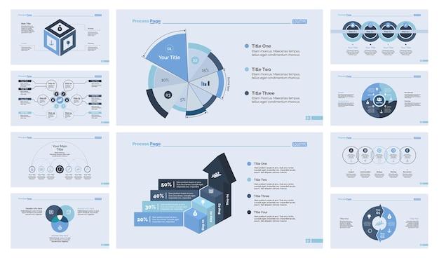 Dieci set di modelli di diapositive di analytics Vettore gratuito