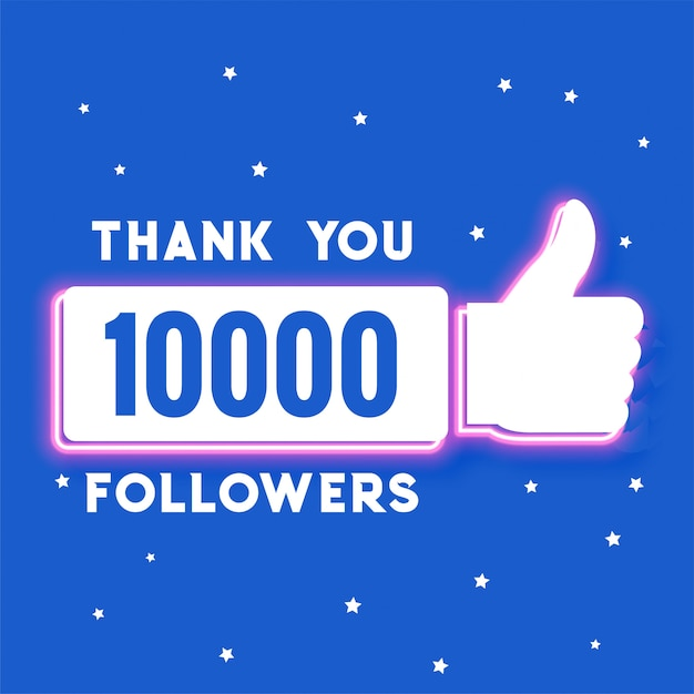 Diecimila follower e modello di abbonati ai social media Vettore gratuito