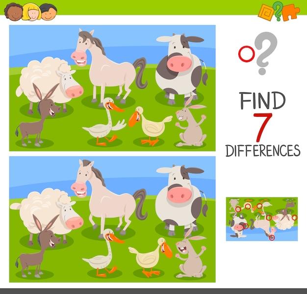 Differenze edu game con animali da fattoria Vettore Premium