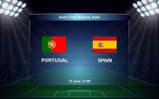 Diffusione del tabellone segnapunti di calcio portogallo vs spagna Vettore Premium