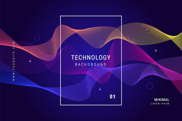 Digital technology wave lines mesh geometric background Vettore gratuito