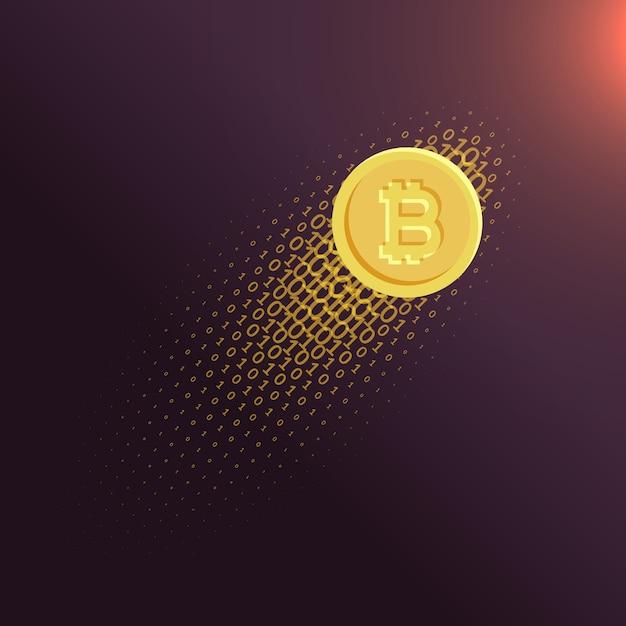 Digitale di valuta digitale bitcoin sfondo vettoriale Vettore gratuito