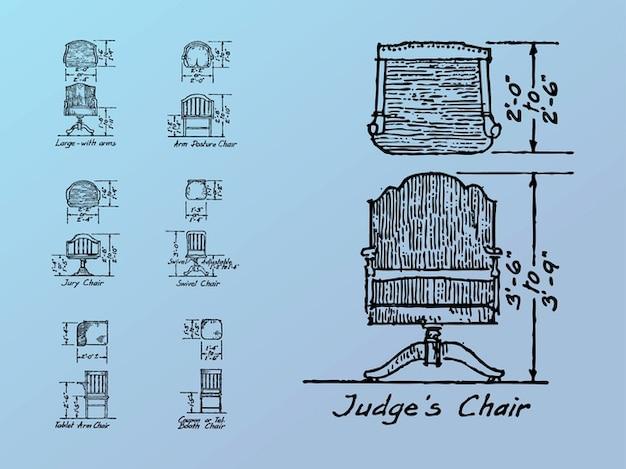 Dimensioni sedia schizzi vector pack scaricare vettori - Dimensioni sedia ...