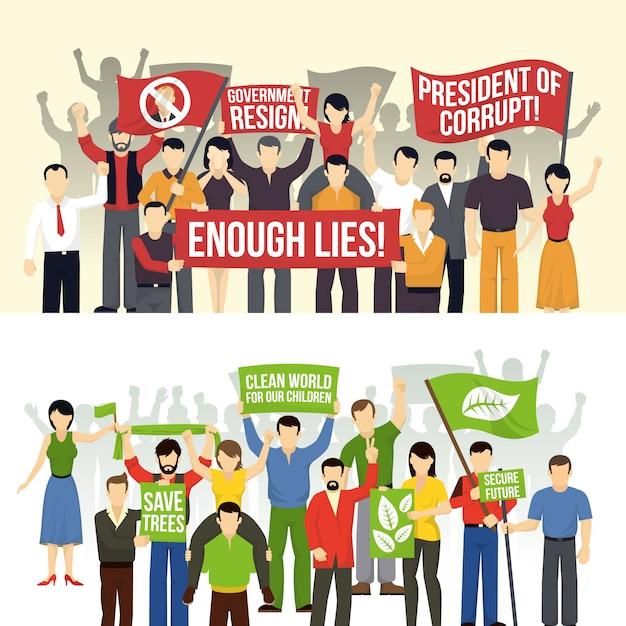 Dimostrazioni politiche ed ecologiche sfondi orizzontali Vettore gratuito