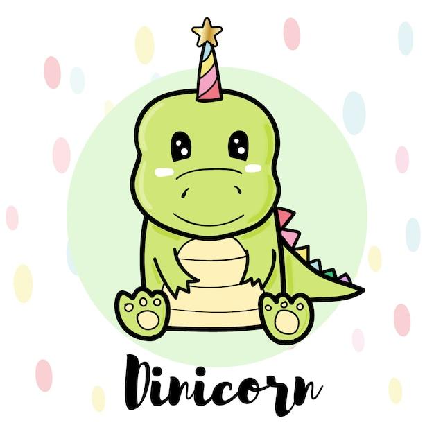 Dinicorn simpatico cartone animato, dinosauro verde Vettore Premium