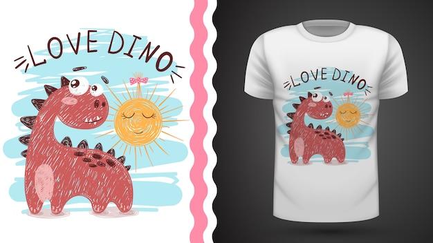 Dino and sun - idea per t-shirt stampata Vettore Premium