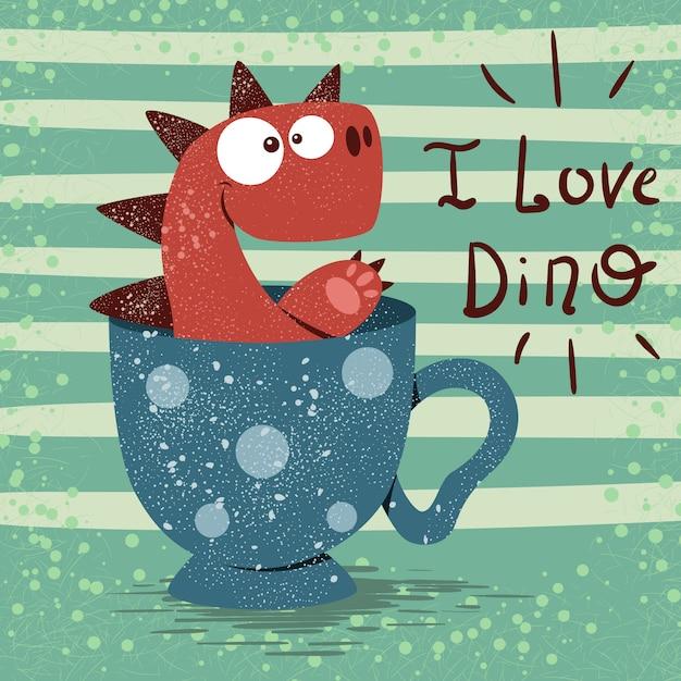 Dino carino con una tazza di tè Vettore Premium
