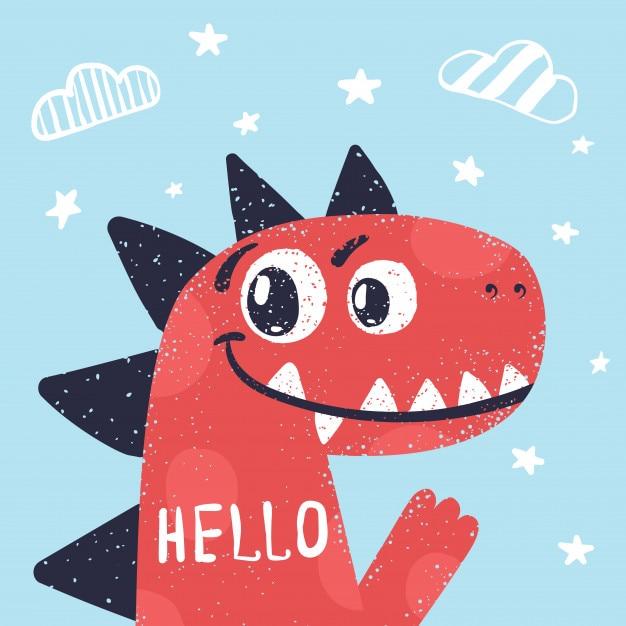 Dino carino, illustrazione di dinosauro per t-shirt stampata. Vettore Premium