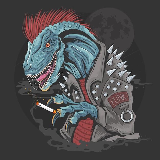 Dinosaur punk raptor t-rex element Vettore Premium