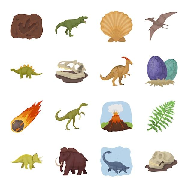 Dinosaur set di elementi vettoriali. illustrazione del dinosauro e altri attributi del mondo antico. Vettore Premium