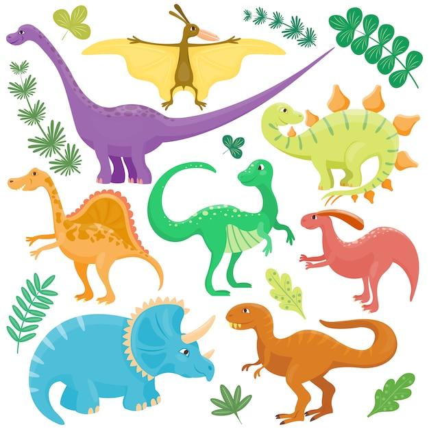 Dinosauri dei cartoni animati. Vettore Premium