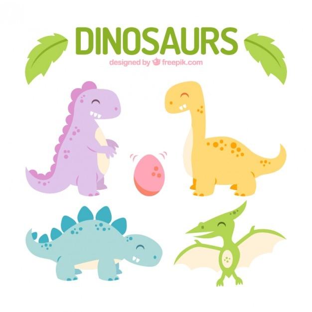 Dinosauri felici colorati insieme Vettore gratuito