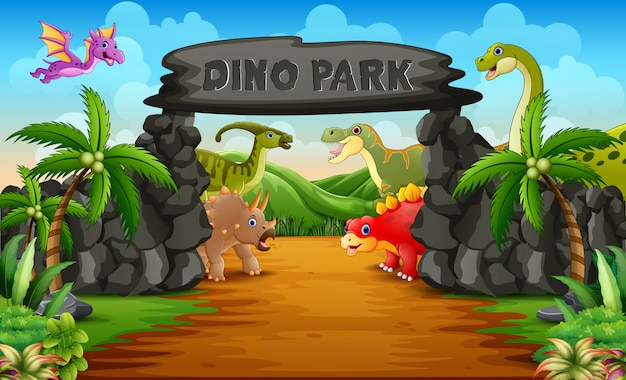 Dinosauri in un'illustrazione dell'entrata del parco di dino Vettore Premium